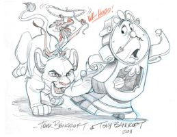 Disney Bro Jam:  Cogsworth, Simba, and Mushu by tombancroft