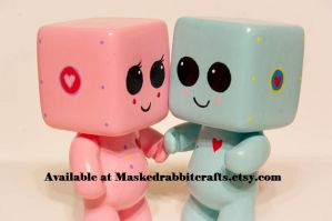 Set of Two Heartbots in Love by maskedrabbitcrafts