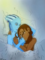 More Shepard Liara cuddling by OuterBlueFox2