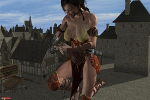 Elven Giantess 5 (commission) by Xen0phage