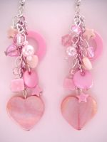 Pink heart dangle earrings by fairy-cakes