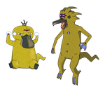 Psyduck and Golduck Delta by Axel-Comics