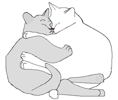 KITTEH CATS CUDDLING TOGETHER LINEART by IamaUnicorn02