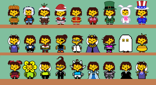 Frisk's Different Outfits by StarLaurenTitan