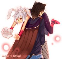 cat and bunny (Talon and Riven) by Yosukii