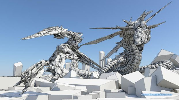 Vanguard VS  Serpent 3D and wireframe by AdamentSnow