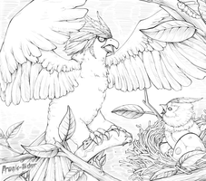 Braviary and it's nest by freak-sider