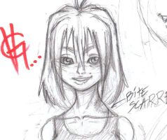 Claire head sketch by skullmunky
