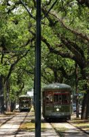 New Orleans Street Cars Coming and Going by NDCott