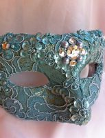 Green Lace Mask with Gems by DaraGallery