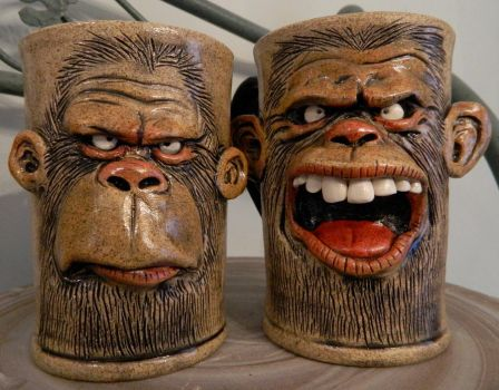 Monkey Mugs by thebigduluth