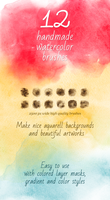 12 Handmade Watercolor Photoshop Brushes by saimana