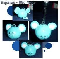 Keychain - Blue Mouse by Amy-Luna