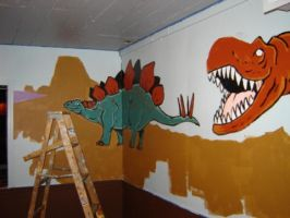 Dinosaur Mural WP 2 by gsilverfish