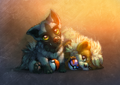 Pochyena and Growlithe (+Speedpaint) by Nordeva