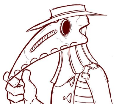 Plague Doctor Inking Practice by GrymmBadger