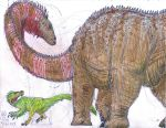 Diplodocus and Ornitholestes by MickeyRayRex