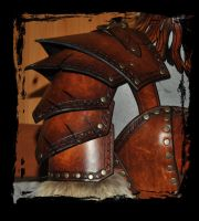 barbarian leather armor details by Lagueuse