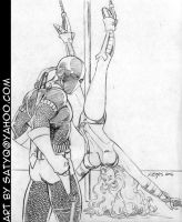 Deathstroke Starfire tied up by SatyQ