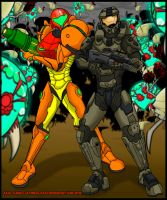 Halo - Metroid crossover- Master chief and Samus! by ultimatejulio