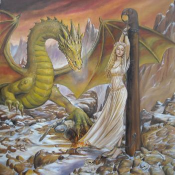Dragon and Captive painting by dashinvaine