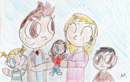 The Doctor and Rose family by ptitemouette