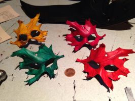 Mini leather leaf masks by Skinz-N-Hydez