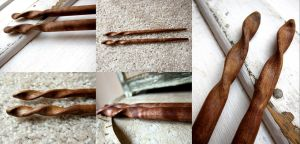 Kaede Curly Maple Hair Sticks by ValkyrieOfODIN