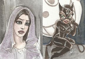 Arwen and Catwoman by AmberStoneArt