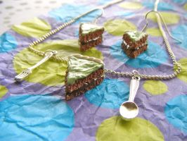 After Eight Cake Necklace + E by Origami-Joe