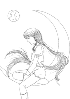 Guardian of the Moon - lineart by DB-Naomi-san
