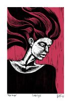 Mujer De Negro Digital Woodblock by dio-03