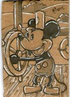 Mickey Mouse in Steam Boat Willie sketch card by johnnyism