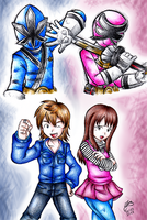 Shinken Blue and Pink by Ian-the-Hedgehog