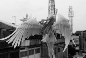 Angel Gazes Upon The Building by ExiledHearts