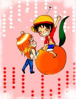 Luffy-and-Nami-chibi- by RinALaw