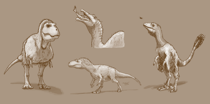 Various theropods doing various things by Sketchy-raptor