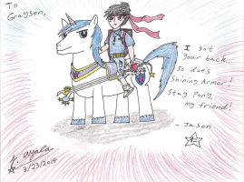 Anime Jason and Shining Armor supports Grayson! by AnimeJason2010