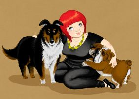 Minna and her dogs by OlayaValle