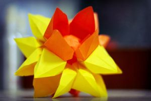 traditional origami lotus kusudama by leezarainboeveins