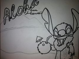 Stitch in Hawaii outline by sampson1721