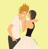 Roxas and Xion Listening to an iPod by ChibiKyuu