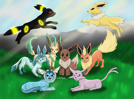 Eeveelutions by Invader-Michaela
