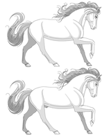 Stallion + mare - lineart by Wild-Hearts