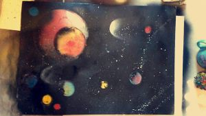 Spray paint planets WIP  by SqueezeBoxx