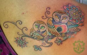 Cute Musical Owls Tattoo done by Sean Ambrose by seanspoison