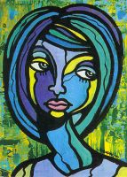 Blue Girl - Acrylic Painting by sammo371