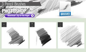 3 Pencil Brushes for Photoshop by pixelstains