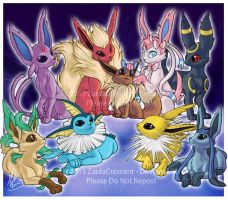 Eevee Family by ZaidaCrescent
