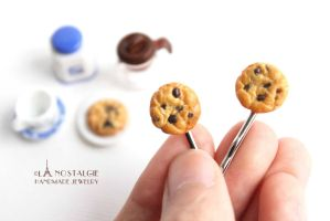 Chocolate Chip Cookies Hairpin Food art accessory by LaNostalgie05